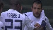 Il pallonetto di Sau finisce in goal e il Cagliari esulta