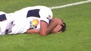 Colpo di testa doloroso e fuori misura per Cherubin contro il Cagliari