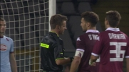 Guillermo Rodriguez commette fallo da rigore per fermare Toni