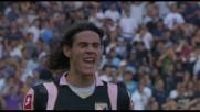 All'Olimpico il potente destro di Cavani piega le mani a Muslera: goal del Palermo