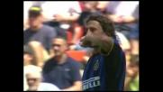 Kalac non trattiene il tiro di Crespo, goal dell'Inter contro il Perugia