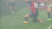 Calaiò in anticipo sulla difesa blucerchiata per il goal nel derby della lanterna