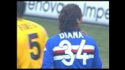 Diana stende Bonera in area: rigore per il Parma a Marassi