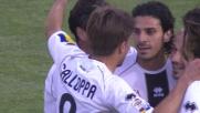 Secondo goal per il Parma contro il Cagliari. Il marcatore è Floccari