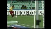 Lucarelli sfiora un goal fantastico, traversa con un tiro da fondo campo col Palermo
