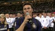 Il discorso di addio al calcio giocato di capitan Zanetti