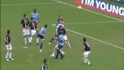 Lulic dopo il corner centra il palo in Lazio-Parma