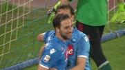 Il goal di tacco in tap-in di Gabbiadini vale il 3-0 del Napoli