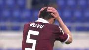 La gran punizione di Bovo colpisce la traversa e la palla schizza in aria