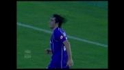 Toni segna in allungo il goal dell'1-1 per la Fiorentina