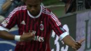Azione personale di Robinho che conclude in goal contro il Cagliari