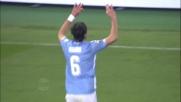 Mauri segna il goal del raddoppio della Lazio contro il Verona