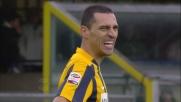 Romulo prova il pallonetto contro Handanovic ma la conclusione è fuori misura