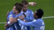 Klose di testa sigla il goal del raddoppio laziale al Barbera