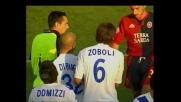 Langella scatenato, Mareco lo ferma con le cattive: rigore per il Cagliari