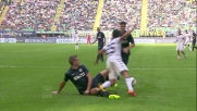 Vidic in scivolata frana su Sau e causa un calcio di rigore a favore del Cagliari