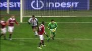 Con rapidità d'esecuzione Gabriel Silva prova il pallonetto ma si perde sul fondo