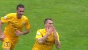 Gran goal di Cacciatore che la indirizza sul palo lontano e apre le marcature contro il Bologna