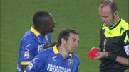 Chibsah tocca la pallo con la mano e viene ammonito per la seconda volta: Frosinone in 9 a Verona