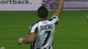 Sanchez segna in tuffo di testa il goal del nuovo vantaggio dell'Udinese contro il Milan