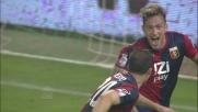 Floro Flores esegue un colpo di testa in tuffo per il goal del vantaggio del Genoa