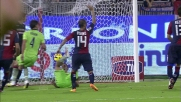Pazienza coglie di sorpresa Agazzi e di testa realizza il goal dello 0-3
