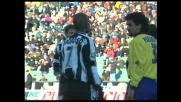 Bierhoff contro il Bologna realizza un goal fondamentale per l'Udinese