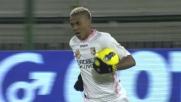 Il rigore battuto da Hernandez lascia di stucco Agazzi: Cagliari-Palermo 2-1
