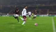 A San Siro Zapata contrasta il tiro di Belotti e protegge la porta del Milan
