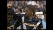 Baggio sblocca il risultato con la Lazio con un goal meraviglioso