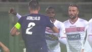 Belec si allunga sul colpo di testa di Gonzalo Rodriguez e para la conclusione