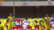 Borriello non perdona la difesa disattenta del Chievo firmando il goal vittoria