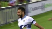 Candreva apre le marcature con un tiro di destro in Lazio-Inter