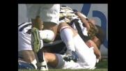 Cannavaro salta altissimo, colpo di testa vincente per il goal del pareggio della Juventus al Sant'Elia