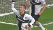 Cassano su rigore spiazza Abbiati e segna il goal del vantaggio del Parma sul Milan