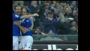 Castellini colpisce la traversa, il pallone sbatte su De Sanctis e termina in rete