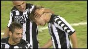 Colpo di testa di Calaiò per goal del 2-0 del Siena a Cagliari