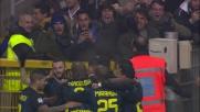 Colpo di testa di Icardi, l'Inter segna il goal del raddoppio sulla Lazio