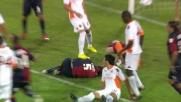 Conti falciato da Burdisso; è calcio di rigore per il Cagliari