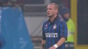 Contro la Lazio la punizione di Sneijder esce di poco sopra la traversa
