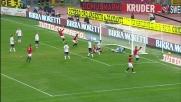 De Rossi conquista il rigore sul lieve tocco di Canini