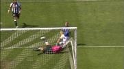 De Luca al secondo tentativo batte Brkic e segna il goal che porta in vantaggio l'Atalanta