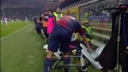 De Maio respinge un lancio della Juventus ma cade sulle sedie