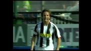 Del Piero spinge in rete il cross di Camoranesi, Juventus di nuovo in vantaggio