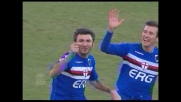 Delvecchio di testa e realizza il goal dell'1-0 per la Sampdoria contro l'Udinese