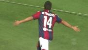 Di Francesco insacca il goal del 2-0 per il Bologna sul Cagliari