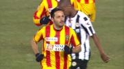 Di Michele da fuori area segna il goal del momentaneo pareggio del Lecce al Friuli