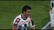 Di Natale realizza il goal al Livorno con una punizione magistrale all'incrocio dei pali