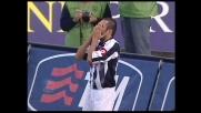 Dossena a botta sicura calcia sull'esterno della rete: ontro il Palermo il goal non vuole arrivare
