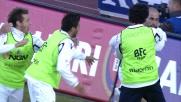 Di Vaio con un pallonetto segna il goal dello 0-1 al Cagliari